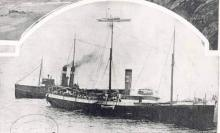 Image of Petriana with tug James Patterson and pilot steamer in attendance