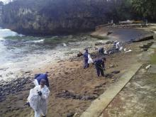 Beach clean-up crew at Flying Fish Cove