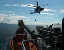 Rescue helicopter conducts the medical evacuation