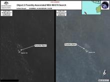 Satellite imagery provided to AMSA of objects that may be possible debris of the missing Malaysia Airlines Flight MH370 in a revised area 185 km to the south east of the original search area
