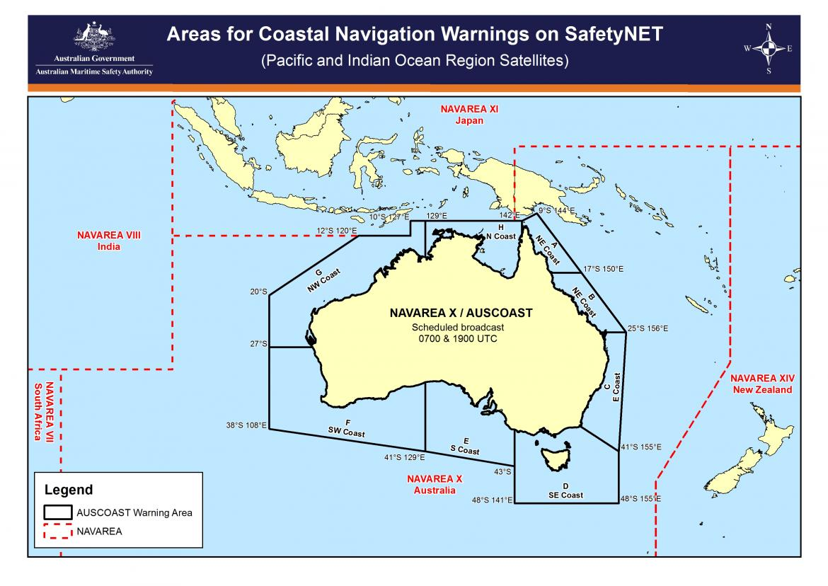 Areas for coastal navigation warnings on SafetyNET from Pacific and Indian Ocean region satellites