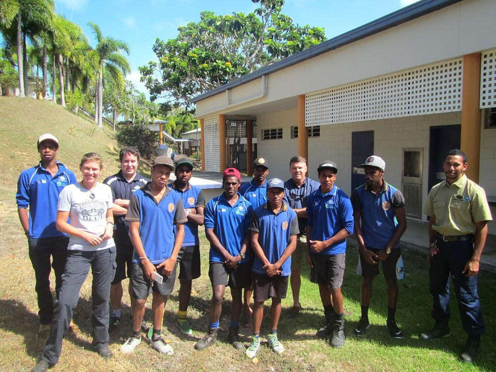 Year 12 students from Tagai College along with Heidi Taylor (Tangaroa Blue), Matt Gregg (AMSA), David McIlwain (TAFE International Marine College), Anthony Drummond (TSRA Rangers)