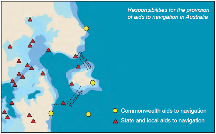 Showing Commonwealth and State aids to navigation and the port limits