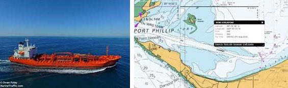 The vessel Bow Singapore and a map of Port Phillip bay