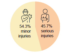 Figure 15. Proportion of injuries by severity of injury: 54.3% minor injuries and 45.7% serious injuries