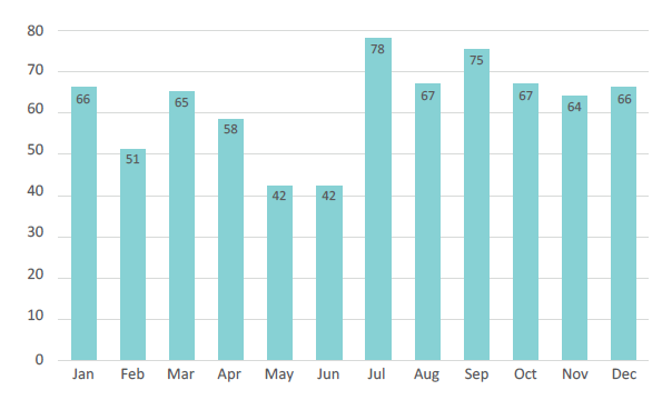 Figure 4. Monthly number of reported DCV marine incidents (2019)