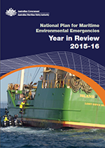 Cover of the National Plan for Maritime Environmental Emergencies Year in Review 2015-16 with a green vessel