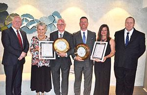 2016 Australian Search and Rescue Award recipients - John and Innes, Mount Barney Lodge Country Retreat - pictured here with their wives Jenny and Tracey Larkin, AMSA's CEO Mick Kinley (left) and QPS Senior Sergeant Jim Whitehead (right)