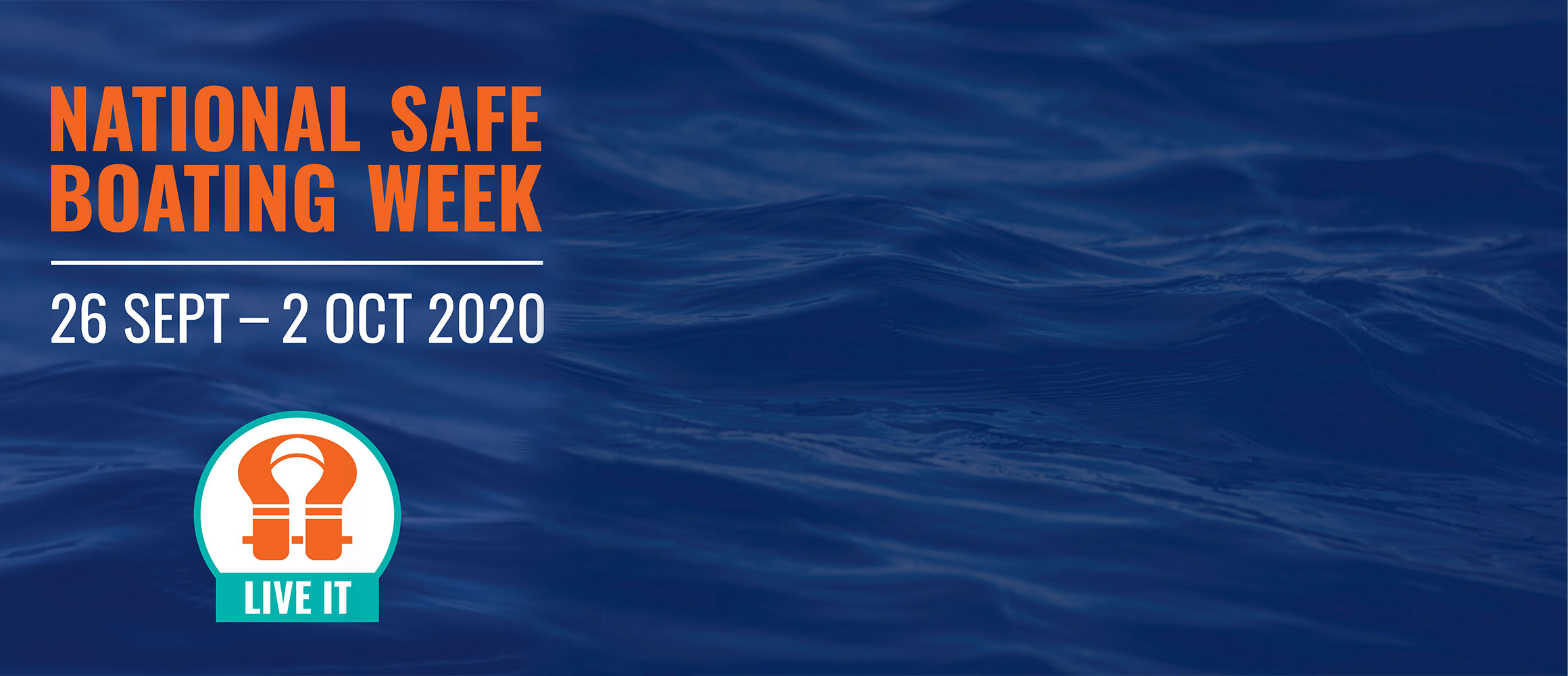 National Safe Boating Week logo and water background