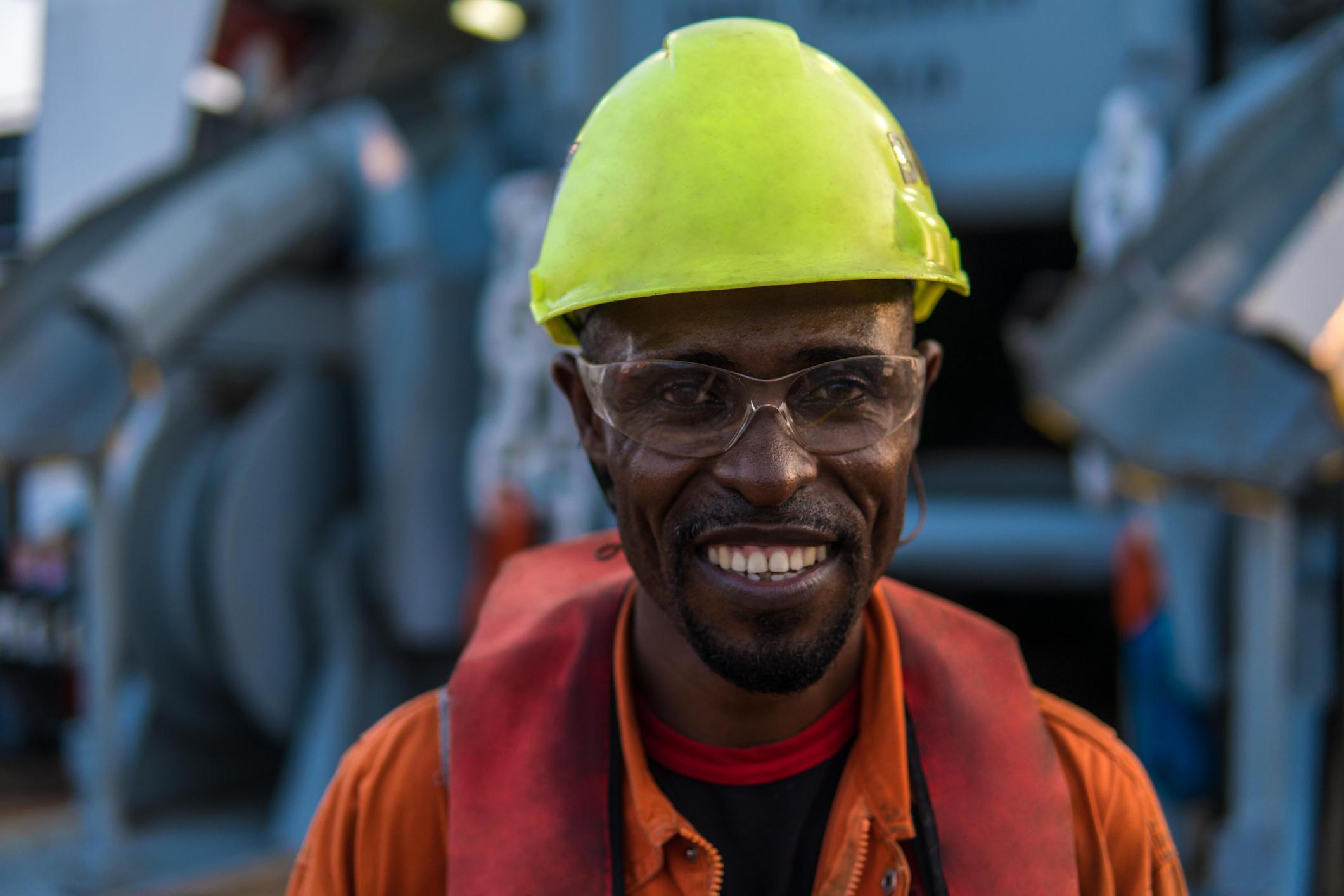 Seafarer smiling