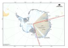 Area of Antarctica that is Australia's search and rescue region inclduing Davis, Mimy, Casey, Dumint d'Urville Commonwealth Bay, Concordia and Vostok