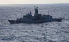 HMAS Parramatta out in the ocean