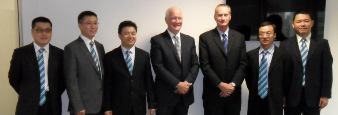 Graham Peachey and Brad Groves welcome the delegates from China MSA to Australia