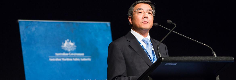 IMO Secretary-General Koji Sekimizu delivers the keynote address
