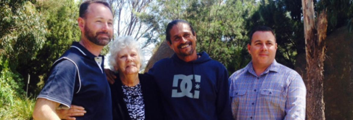 Aunty Phyllis and Stan (centre) the longest and shortest serving Aboriginal and Torres Strait training staff, with Jarrod and Steve from AMC