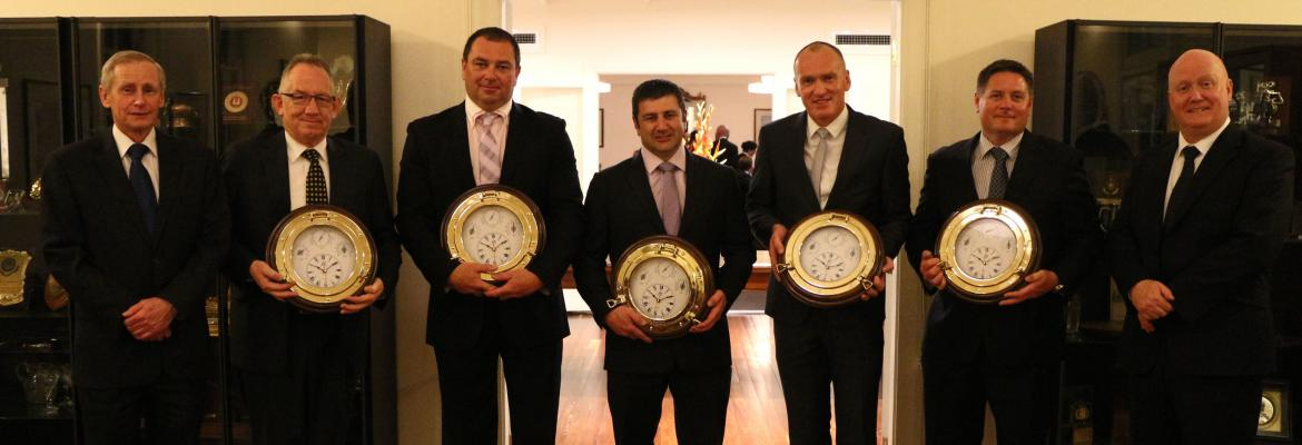 Tasmania Police officers (from second left) Inspector Lee Renshaw, Sergeant John Pratt, Senior Constable Robert Round, Senior Constable Darren Leary and Senior Constable Ben Cunningham were presented with the Australian Search and Rescue Award by National