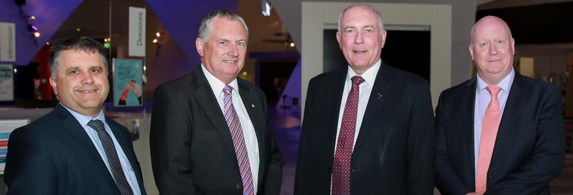 (L-R) Mike Mrdak, Secretary, Department of Infrastructure and Regional Development; Stuart Richey AM, Chairman, AMSA; The Hon Warren Truss MP, Deputy Prime Minister and Minister for Infrastructure and Regional Development; and Mick Kinley, Chief Executive