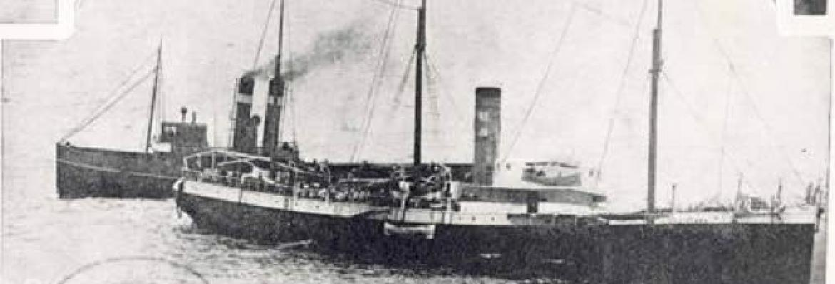Petriana with tug James Patterson and pilot steamer in attendance