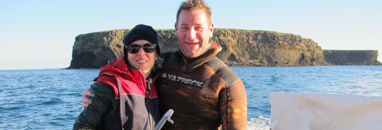 Kirsten Abernethy abalone diving