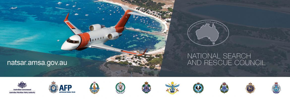 NATSAR council logo, our challenger rescue aircraft and grey geometric shapes