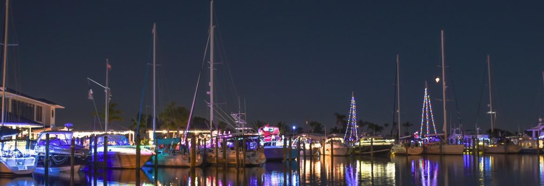 christmas light on boats