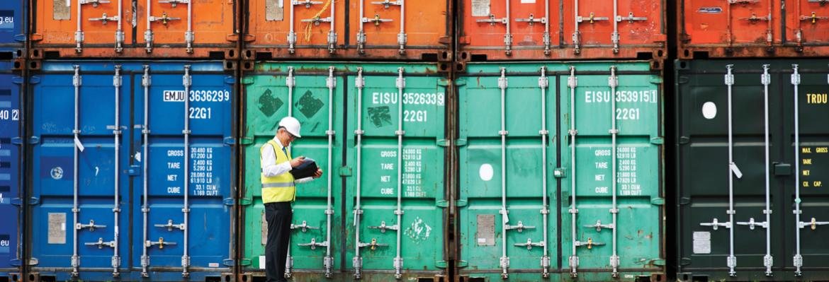 shipping containers being inspected