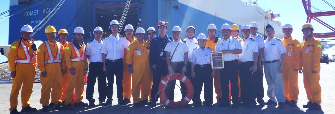 AMSA presents award to MV Comet Ace Master and crew for rescue of MOB from MV Cape Spencer