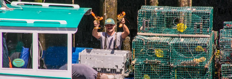 fisherman with crayfish