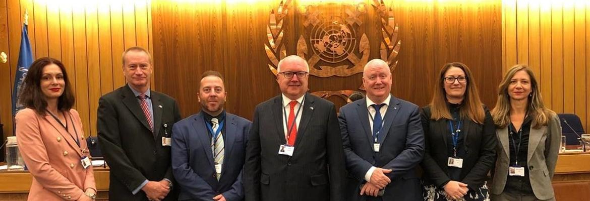 AMSA CEO, Mick Kinley; General Manager Standards, Brad Groves; Manager International Engagement, Elisa Boughton; Alternate Permanent Representatives Mattew McGregor and Annalisse Sly, and ED Surface Transport Policy, Jess Hall, George Brandis