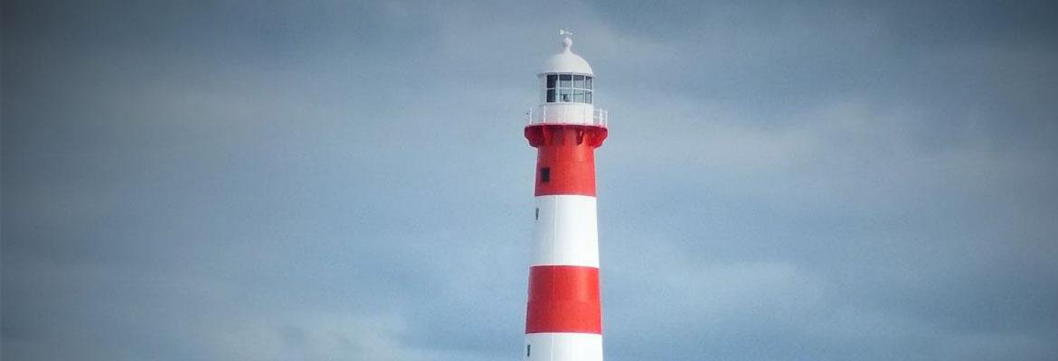 Top of Point Moore lighthouse after external painting with red and white stripes