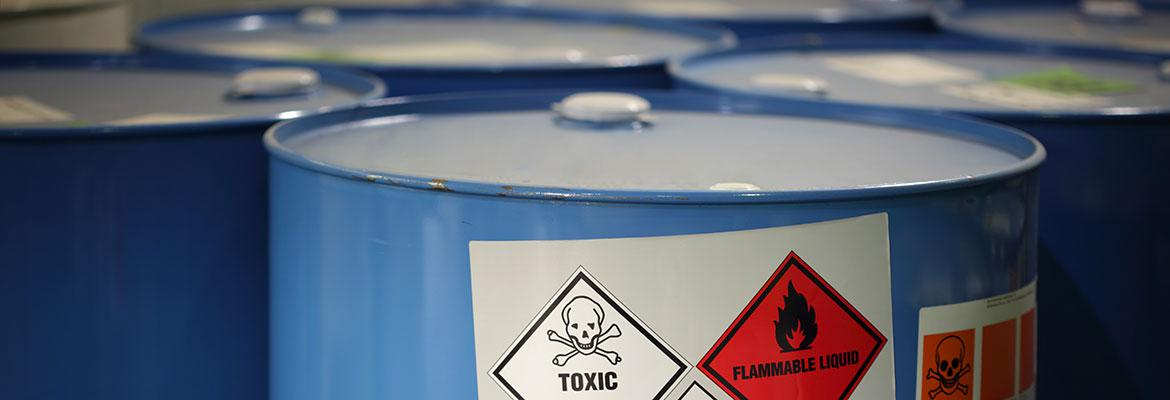 Barrels of toxic chemicals