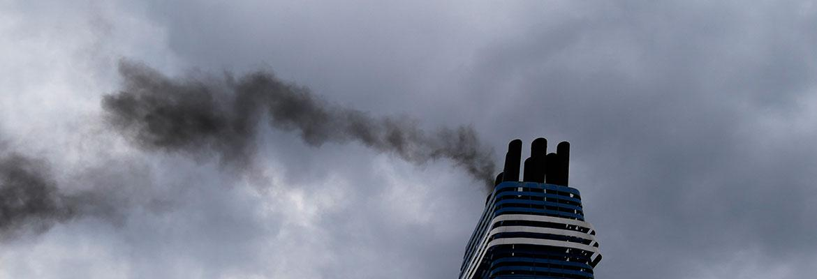 Ship chimney with smoke coming out