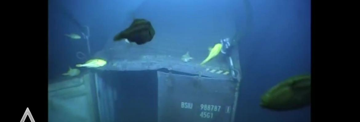 container under water
