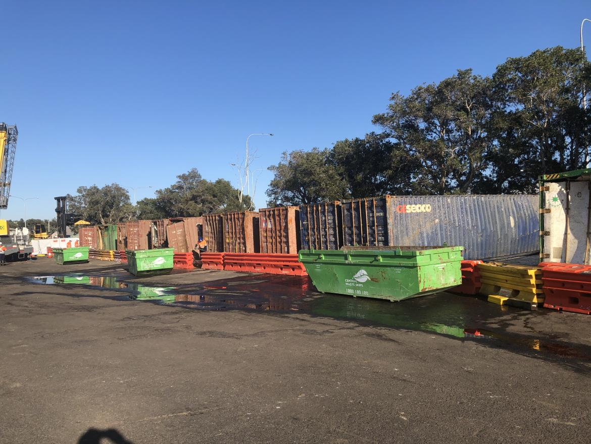 Thirteen containers in waste yard