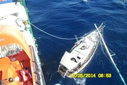 Image of the damaged yacht, Crazy Jack