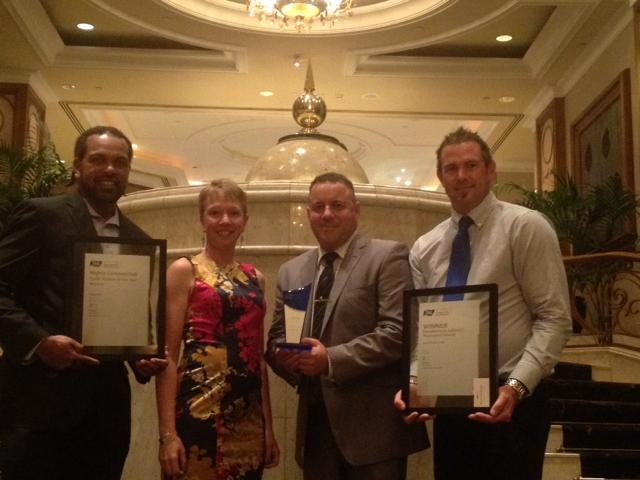 Award presentation (L-R) Koeygab Pabai, Trainee of the Year nominee; Ruth Findlater, Trainer, AMC; Jarrod Weaving, VET Manager, AMC; and Paul Brown, Trainer, AMC