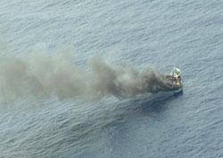 Image of fire on board Shofuku Maru No.78