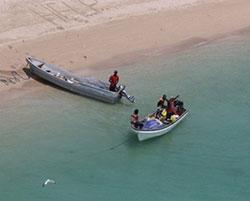 Image of disabled banana boat, Torres Strait
