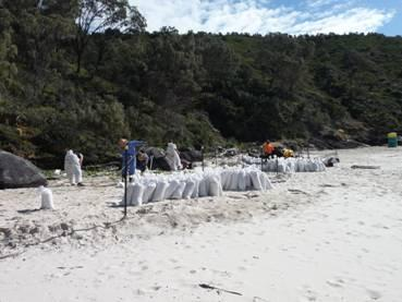 Image of people cleaning up an oiled beach with bags full of oiled sand