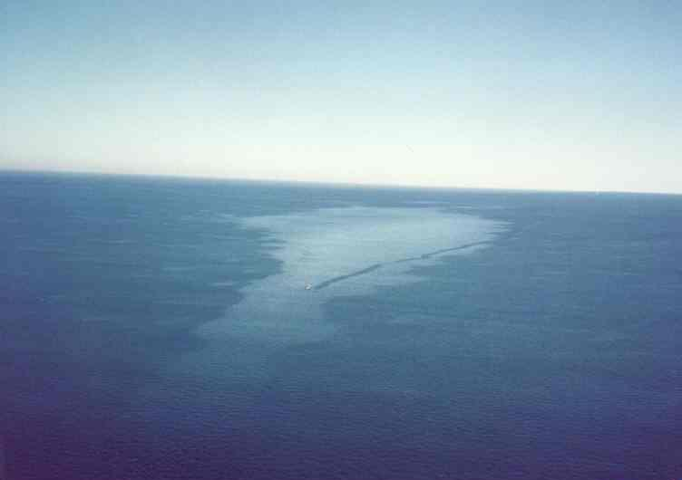 Image of an oil slick  on the ocean, taken from the air