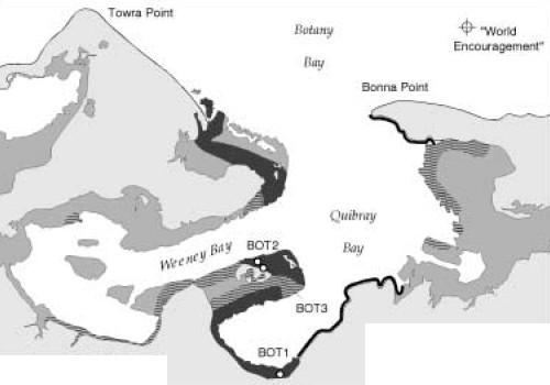 Image of black and white map showing where the oil spill affected Botany Bay