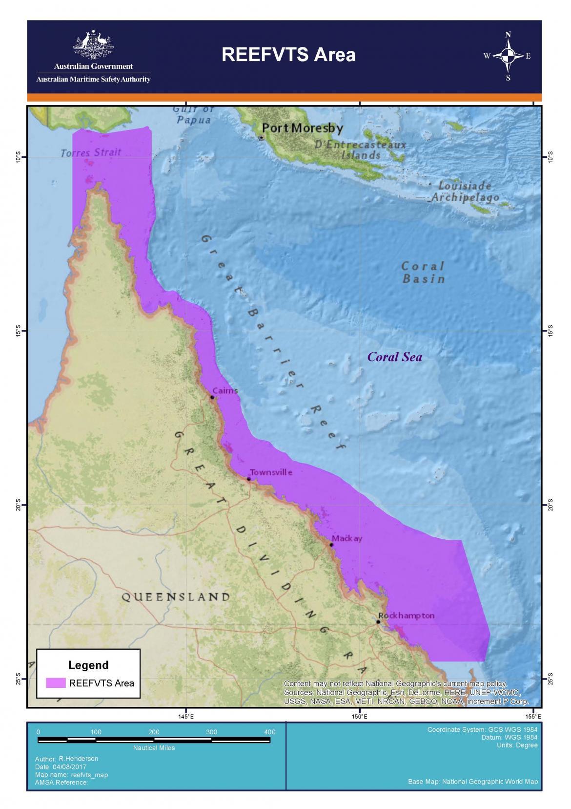 Barrier Reef Australia Map.2017 8 Reefvts Map Jpg Australian Maritime Safety Authority