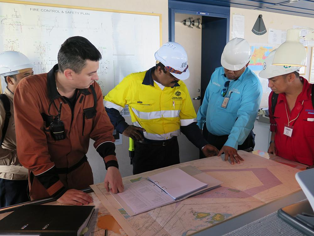 AMSA Marine Surveyor Ajay Rana conducts shipboard inspection training