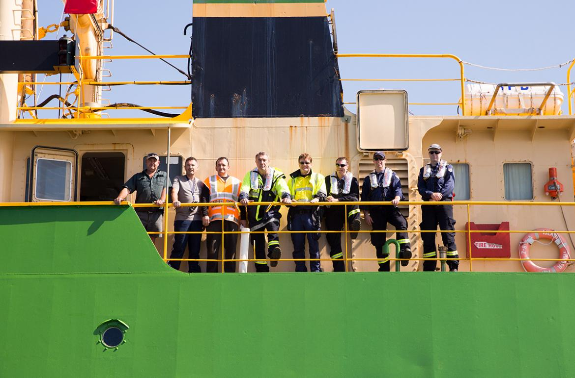 Exercise participants on board MV Island Trader
