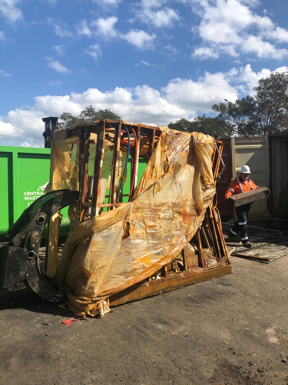 Bathroom pod in the waste yard