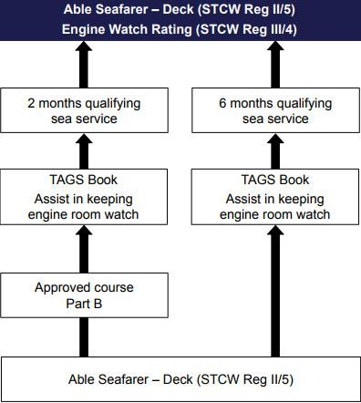 Career path diagram for able seafarer deck with engine watch rating pathway