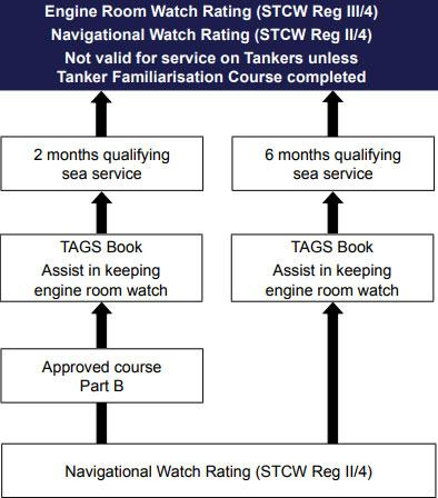 Career path diagram for navigational watch rating with engine room watch rating pathway