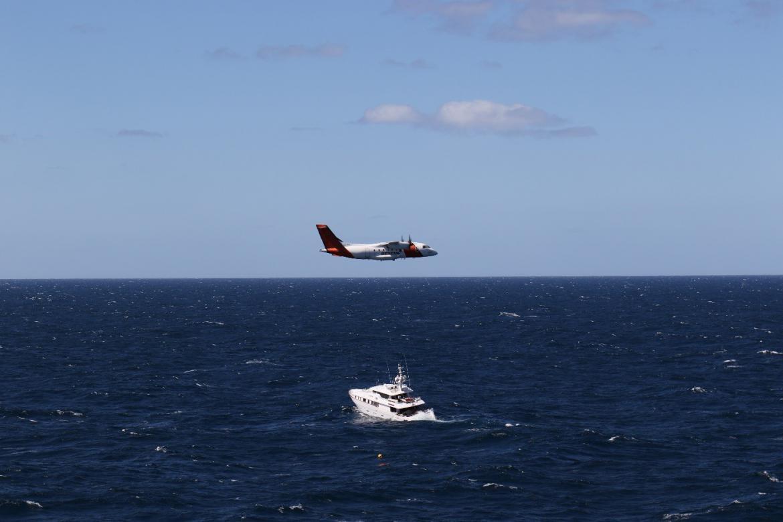 Dornier flying over superyacht