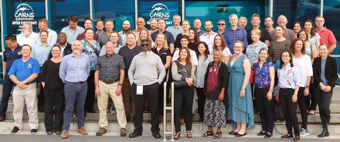 Environment, Science and Technical Network Workshop group in front of Cairns aquarium