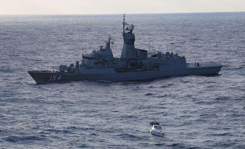 HMAS Parramatta out in the ocean